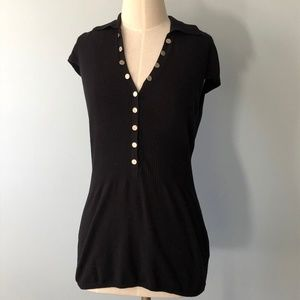 BCBG Black Collared Baby Doll Cap Sleeve Knit Top